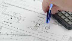 Blueprint for house construction Stock Footage