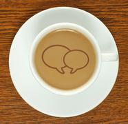 Coffee cup with social media bubbles . Stock Illustration