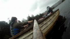 GoPro on oar rowing boat - stock footage
