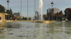 Barcelona Diagonal water fountain Stock Footage