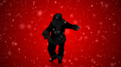 Santa's Silhouette dances with holiday spirited red - stock footage