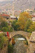 crooked bridge, mostar, bosnia and herzegovina - stock photo