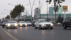 Busy highway in Ankara, slow driving traffic during rush hour Stock Footage