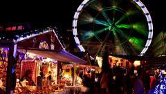 4K time lapse: market with Ferris wheel Stock Footage