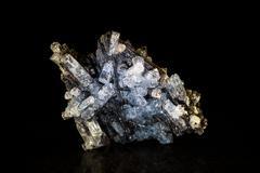 aquamarine crystal and black tourmaline - stock photo