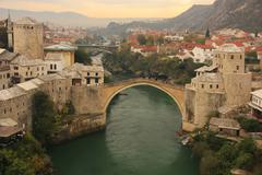 Stock Photo of town of mostar and stari most at sunset, bosnia and hercegovina