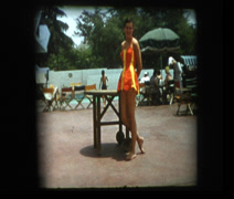 Stock Video Footage of Glam 50s mom models in bathing suit