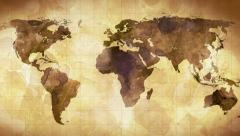 vintage grunge world map animation - stock footage