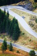 curvy mountain road - stock photo
