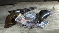 Cowboy gun fighter stash Stock Footage