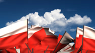 Stock Video Footage of Waving Polish Flags