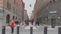 Stockholm Drottninggatan pedestrian shopping street Stock Footage