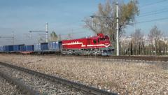 Turkish cargo train riding over railway tracks in Ankara Stock Footage