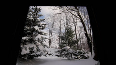 Beautiful Snow Covered Land Framed Stock Footage