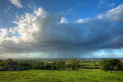 rain falling over gloucestershire - stock photo