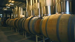 A hallway full of tanks and casks at a farm Stock Footage