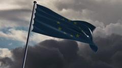 EU Flag, HQ animated on a doomy background Stock Footage