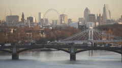 Central London from West London viewpoint, early January morning Stock Footage