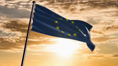 EU Flag, HQ animated on an epic sunset background Stock Footage