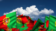 Stock Video Footage of Waving Portuguese Flags