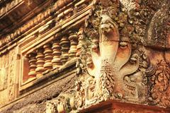 detail of banteay srey temple, angkor area, siem reap, cambodia - stock photo