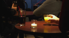 Couple have drinks together at a comedy show Stock Footage