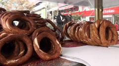 Ankara streets, bread vendor, pedestrians walking through street Stock Footage