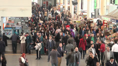 Ankara, Turkey, busy crowded bus station, passenger terminal, ticket booths Stock Footage