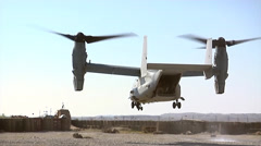 V22 Mv22 Osprey tilt rotor helicopter takes off - stock footage
