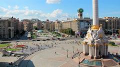 4K Timelapse: Independence square (Maidan Nezalezhnosti) in Kiev, Ukraine Stock Footage