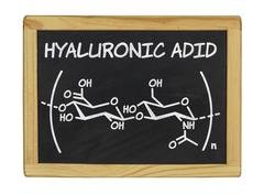 chemical formula of hyaluronic acid - stock photo