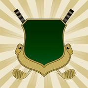Gold and green golf shield Stock Illustration