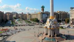 4K Timelapse: Independence square (Maidan Nezalezhnosti) in Kiev, Ukraine - stock footage