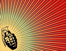 Exploding grenade background - stock illustration