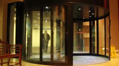 Revolving Door in Hotel Stock Footage