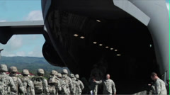 Loading troops a C-17 Globemaster Stock Footage