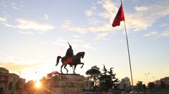 Albania Flag, Skanderbeg Square Stock Footage