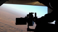 V22 Mv22 Osprey helicopter door gunner Stock Footage