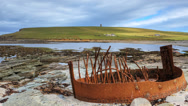 Stock Video Footage of A timelapse of Orkney, Scotland with shipwreck remains