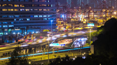 Busy Road and Cargos Loading Port Timelapse. Hong Kong. 4K Tight Zoom In Shot. - stock footage