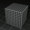 Stock Illustration of Black grid paper cube on black grid paper floor
