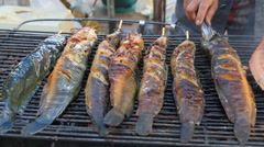 Grilled Catfish Stock Footage