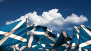 Stock Video Footage of Waving Scottish Flags