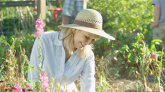 A senior woman enjoys her time gardening in the sun with kids playing behind her Stock Footage