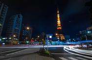 Stock Photo of night time view of tokyo tower