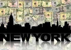 New Yorkin horisonttiin heijastuu kanssa dollaria kuva Piirros