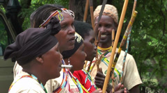 Maasai traditional musicians and orchestra playing music and singing songs Stock Footage