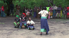 Maasai woman dancing and singing the songs in the village Stock Footage