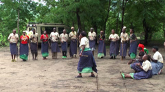 Maasai dancing and singing the songs in the village, Tanzania Stock Footage