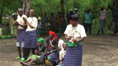 Tanzanian Maasai playingg music with fifes and drums Stock Footage